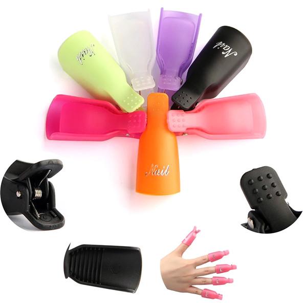 10 Pcs/set Pink Black Nail Art Plastic Nail Polish Remover Soak Off Cap Clip UV Gel Polish Wrap Tools Fluid