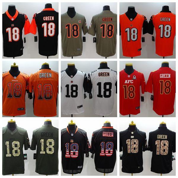 9163d058 2019 New Mens 18 A.J. Green Cincinnati Jersey Bengals Football Jersey 100%  Stitched Embroidery Bengals A.J. Green Color Rush Football Shirt Customized  ...