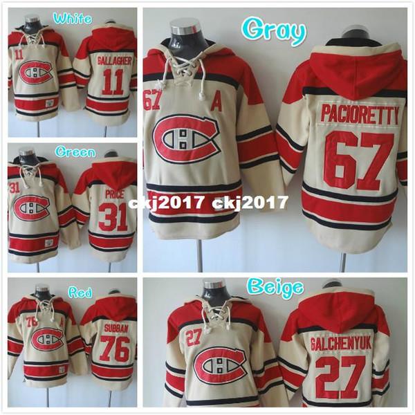 Hombres 11 Brendan Gallagher 67 Max Pacioretty 27 Alex Galchenyuk Sudaderas bordadas de hockey Jersey Beige