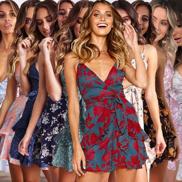 women clothes Women Floral Print Sling Open back Boho dress Evening Party Maxi Dress Summer Sundress drop ship