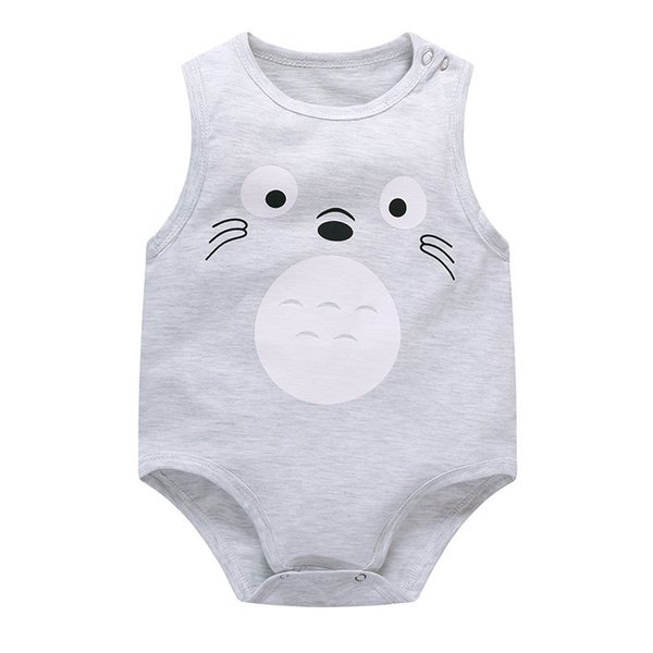 Toddler Baby Boys Girls Cotton Cartoon Bodysuit 2018 Newborn Totoro Jumpsuit Clothes Infant Leotard Sleeveless Bodysuit