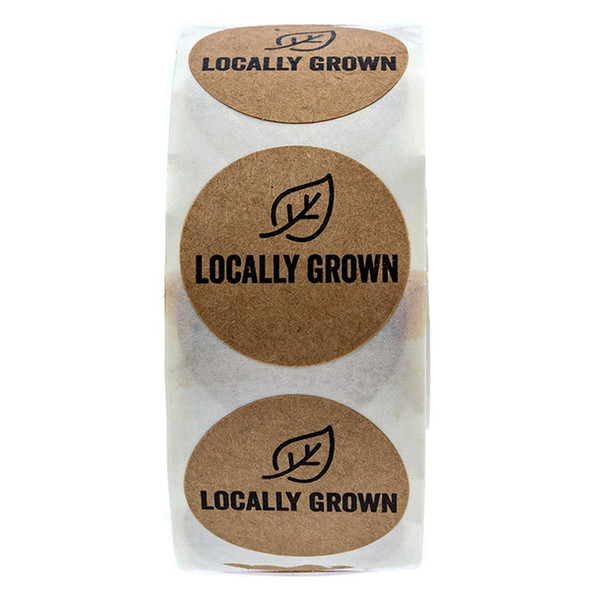 best selling 1 Inch Round Natural Kraft Locally Grown Stickers Grown Local Labels 500 Labels Per Roll