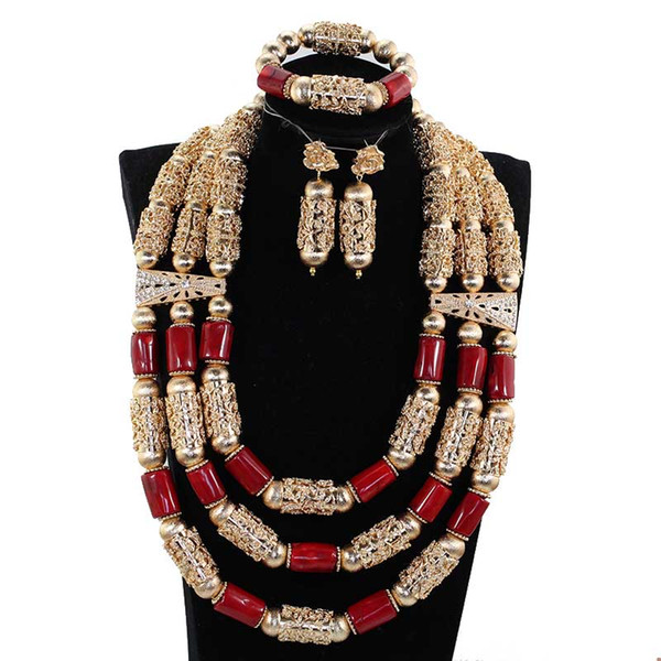 Fantastic Wine Red Natural Coral Beads Jewelry Set Nigerian Women Wedding Coral Statement Necklace Set Dubai Gold Jewelry CL375