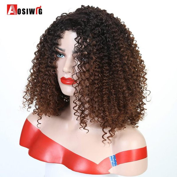 Curto Afro Kinky Curly sintético perucas para mulheres negras Ombre Brown Natural Afro Curly perucas com franja Cosplay Partido AOSIWIG