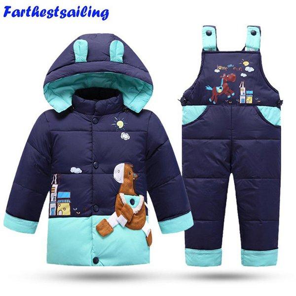 2018 Kış Çocuk Giyim Seti Çocuk Kayak Suit tulumları Bebek Kız Erkek Ördek Down Coat Sıcak Tulum Ceket + önlük pantolon 2adet / setMX190916