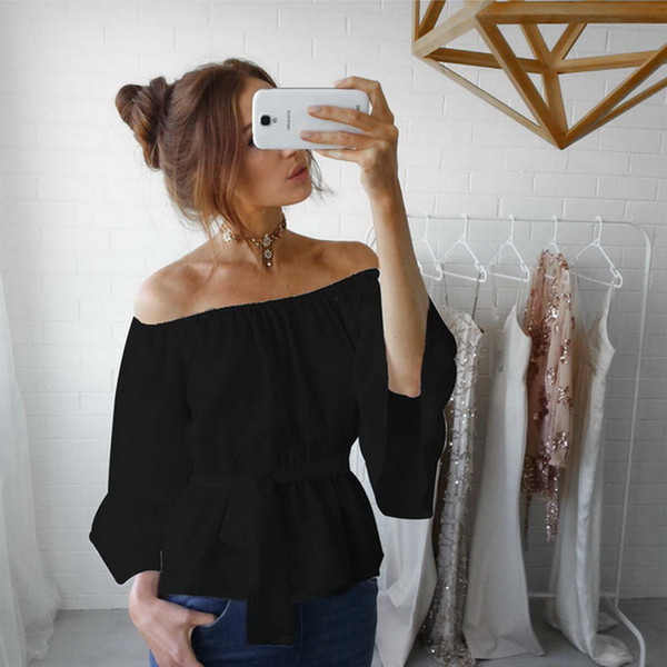Le camice delle nuove donne adattano il colpo sexy chiffon della moda della camicetta della cinghia della spalla di un-carattere Vendita calda per svago