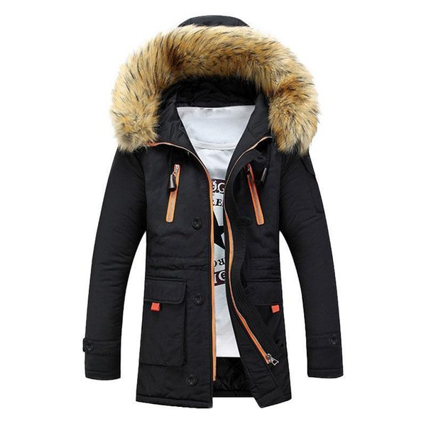 Winter Parka Men Thick Warm Cotton-Padded Coat Mid-Long Fur Collar Hooded Zipper Mens Winter Jackets Snow Quilted Jacket Coat