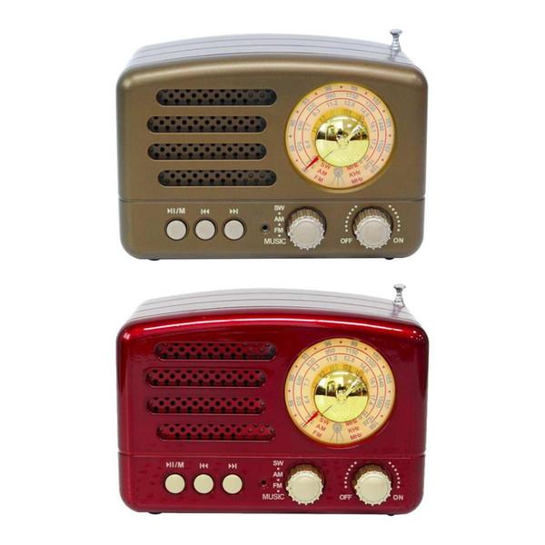 130x90x70mm Rosso / Caffè Portatile Retrò vintage Radio AM FM SW Altoparlante Bluetooth Slot per schede TF Ricarica USB Home Travel Mini Radio