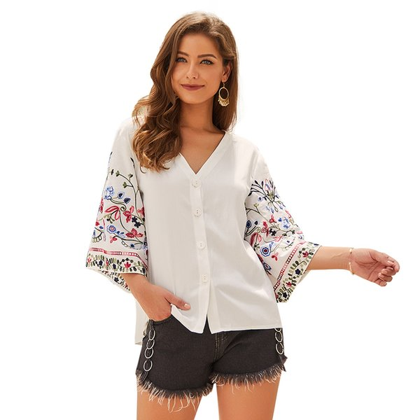2019 cotton and linen shirts seven-point sleeves V-neck T-shirt