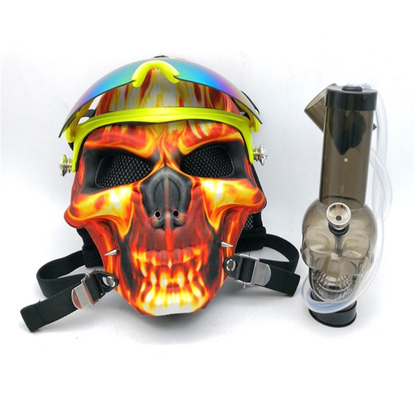 IN STOCK Mask Creative Acrylic Smoking Pipe Gas Mask Pipes Acrylic Skull Bongs for dry herb Shisha Pipe