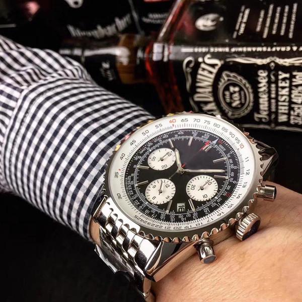 2019 New fashion Quartz OS Movement 1884 Navitimer Chronograph Watch Men Sapphire Crystal quadrante nero cinturino in acciaio inossidabile orologio da uomo Montre Homme