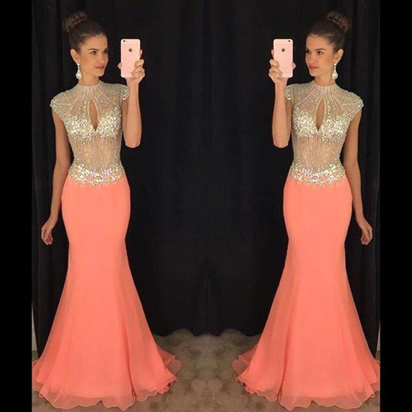 2019 New Coral Mermaid Prom Dresses Cap Sleeve Bling Bling Rhinestone Keyhole Bust Chiffon Evening Dresses Illusion Formal Evening Gowns