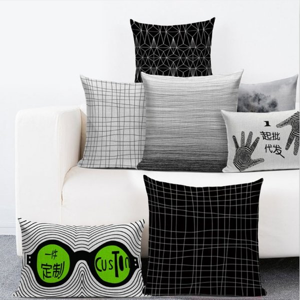 Awesome Modern Black White Throw Pillow Covers Abstract Flower Plant Letter Linen Cushion Cover Pillow Case Home Decor For Sofa Slipcover Decorative Silk Uwap Interior Chair Design Uwaporg