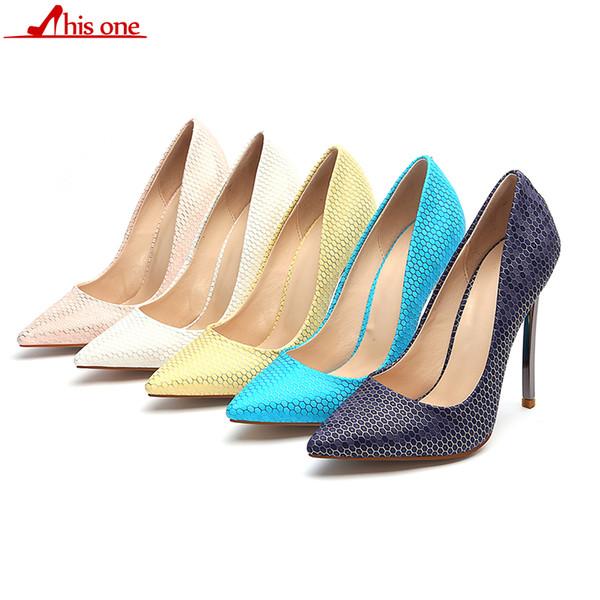 2019 Donne Sexy Motivi geometrici Pelle tacco alto scarpe con tacco alto stile italiano signore di moda estremamente alti tacchi a spillo