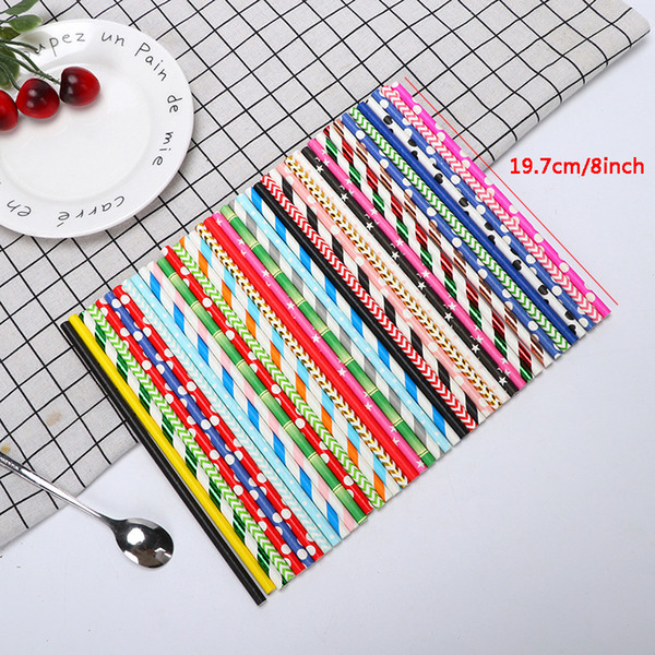 best selling Biodegradable Disposable Paper Straw Environmental Colorful Drinking Straw Wedding Kid Birthday Party Decoration Supply Bar Tool VT0630