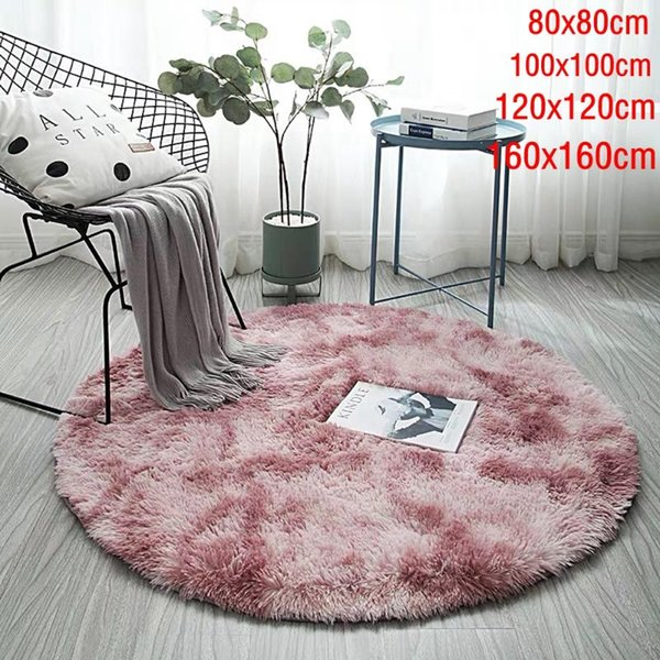 solid gradient carpet thicker rugs non-slip round mat bathroom area rug soft fluffy child bedroom mats for living room