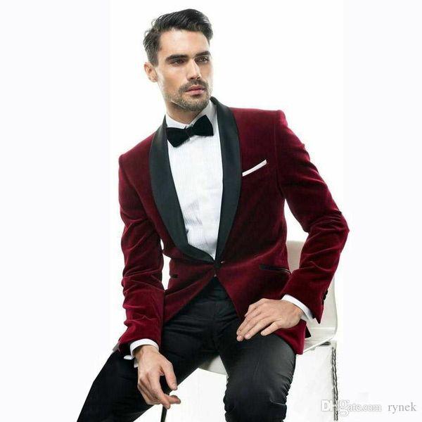 Latest Coat Pant Designs Black Velvet Groom Tuxedos Red Men Wedding Suits Groomsmen Blazer 2Piece Smoking Jacket Slim Fit Terno Masculino