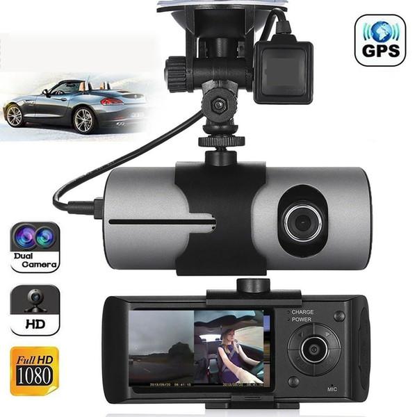2,7 pouces double objectif haute définition moniteur dash cam écran LCD enregistreur de conduite enregistreur Trace G capteur monté en voiture USB HD GPS grand angle