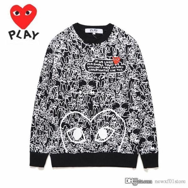 2019 Лучшего качество Unisex Red Heart Graffiti круглого ворота Кофта CDG Play пуловер Casual Coat Com Des Garcons Толстовка