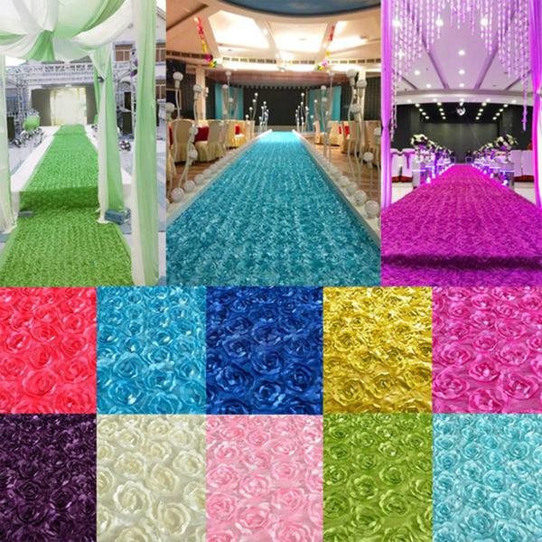 New 1/3/6/9m Length Satin Carpet 3D Fabric Rose Flower Corridor Wedding Corridor Mat Decoration Party Wedding Curtain Background