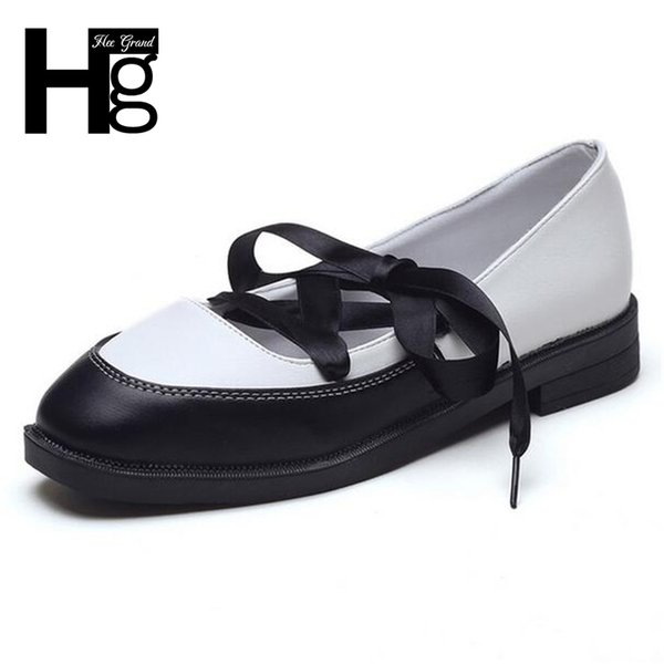 Designer Dress Shoes Hee Grand Woman Daily Low Heels Cross-tied Oxfords For Girls Fashion Lace Up Square Toe Spring Women Xwd5831