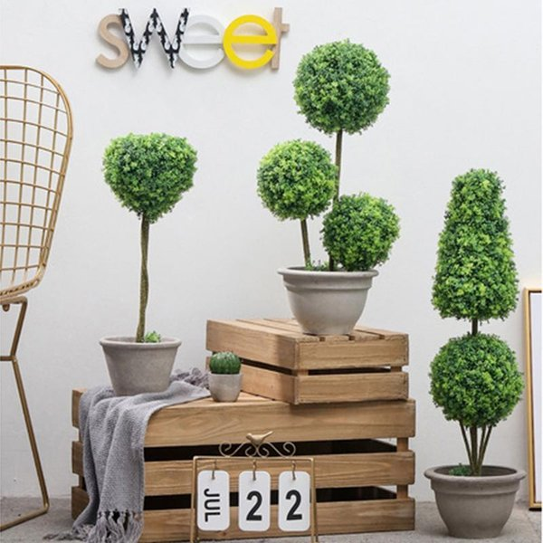 Home Indoor Living Room Decoration Large Floor Simulation Plant Potted Nordic Ins False Green Plant Round Pot