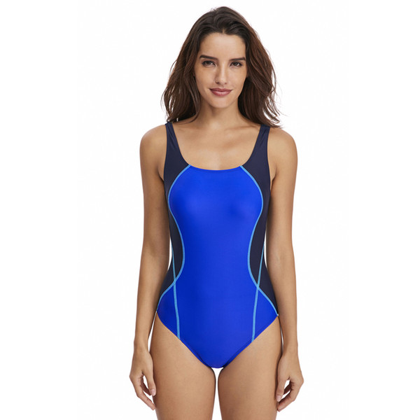 New 2019 Sport One Piece Swimsuit Competitive Swimwear Women Swimming Suits for Women Patchwork Bathing Suits more colors DS47