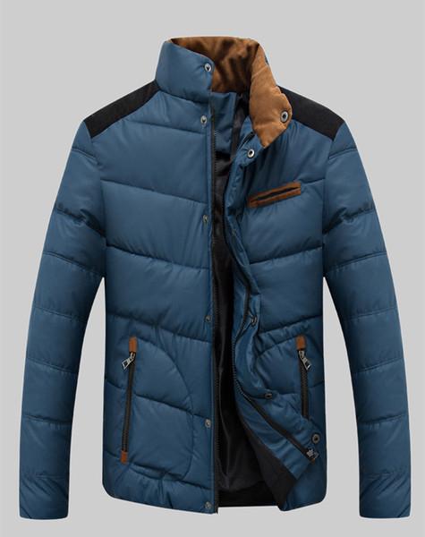 2018 Men Fashion Trend Clothing Dark Blue Black Zipper Jackets Slim Fit Body Warm Coats Free Shipping