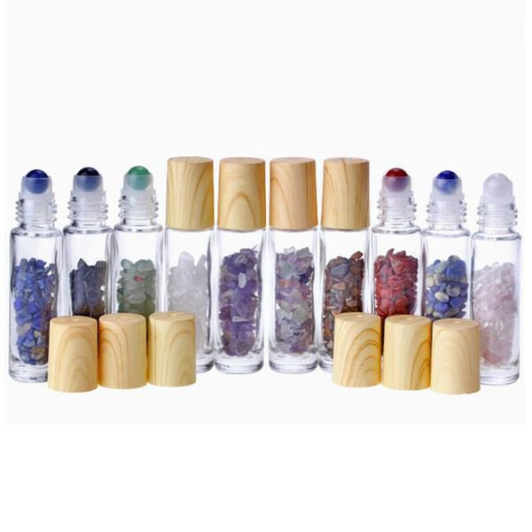 10 ml Cancella rullo di vetro sulla bottiglia di profumo con cristallo di quarzo naturale della pietra sfera di cristallo di legno di copertura del grano bottiglia di olio essenziale LX8428
