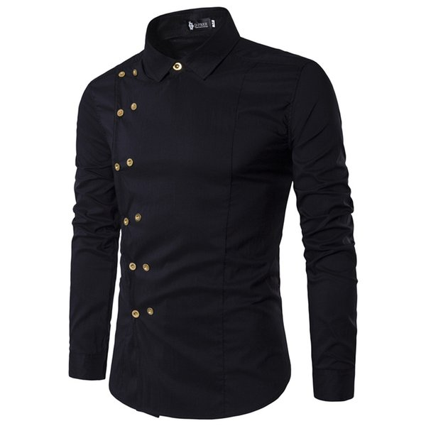2019 Man New Inclined Buckle Double-breasted Design Streetwear Fashion Solid Camisa Masculina Comfortable Long-sleeve Tops Shirt