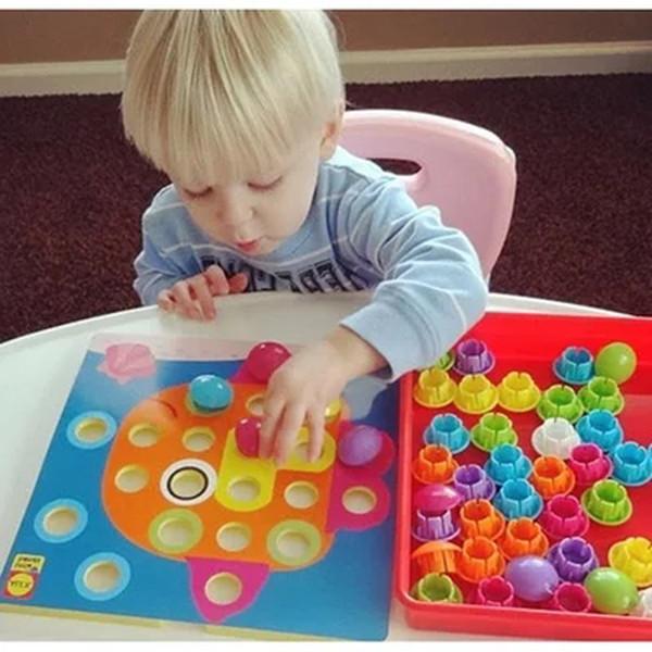 Bebé Niños Rompecabezas 3d Imagen Compuesta Puzzle Creativo Mosaico Mushroom Nail Kit Educativo Juego Juguetes Para Niños Q190530
