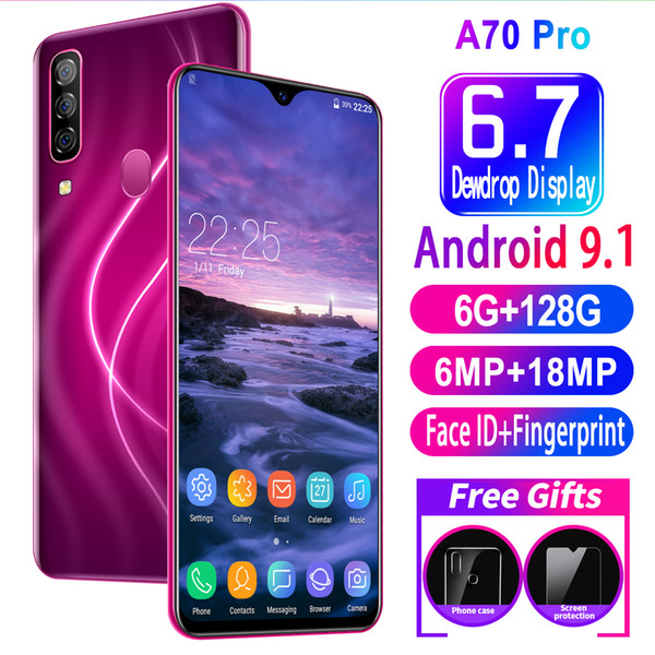 best selling Universal A70 Pro 6GB RAM+128GB ROM Water Drop Screen Full Screen Ultra-thin Smart 4G Mobile 6.7inch Phone Face Fingerprint Unlock Cellphone