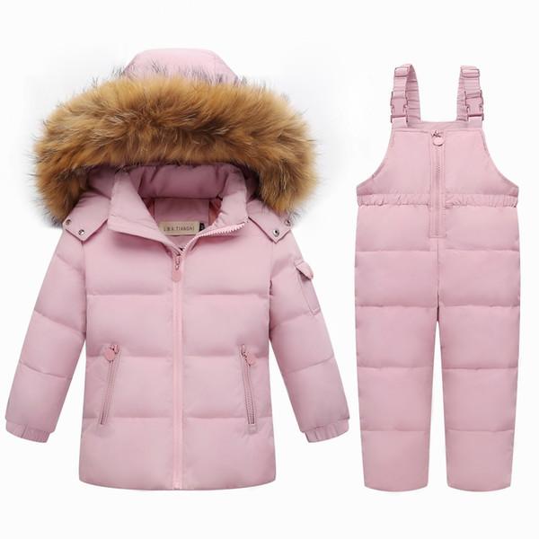 Kızlar Aşağı Set Kış sıcak Çocuk giyim setleri gerçek Kürk kız bebek ördek aşağı snowsuit Çocuklar kayak takım set kış Çocuğun aşağı ceketler + pantolon
