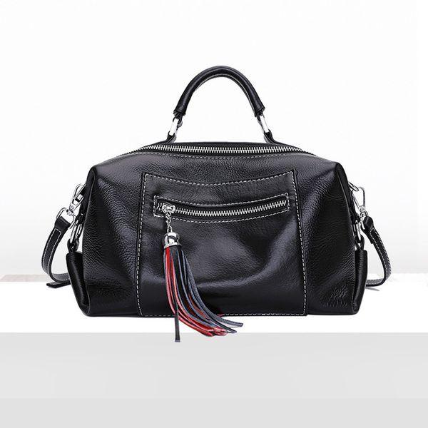 First layer cowhide/Boston bag/lady/new/handbag/cross-body bag/fringe/shoulder bag/genuine leather