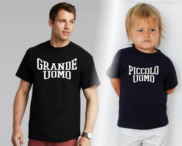 ФУТБОЛКА PADRE + FIGLIO UOMO PAPà BAMBINO 2 PZ MAGLIE GRANDE PICCOLO DIVERTENTE Мужчины Женщины Мужская Мода футболка Бесплатная доставка