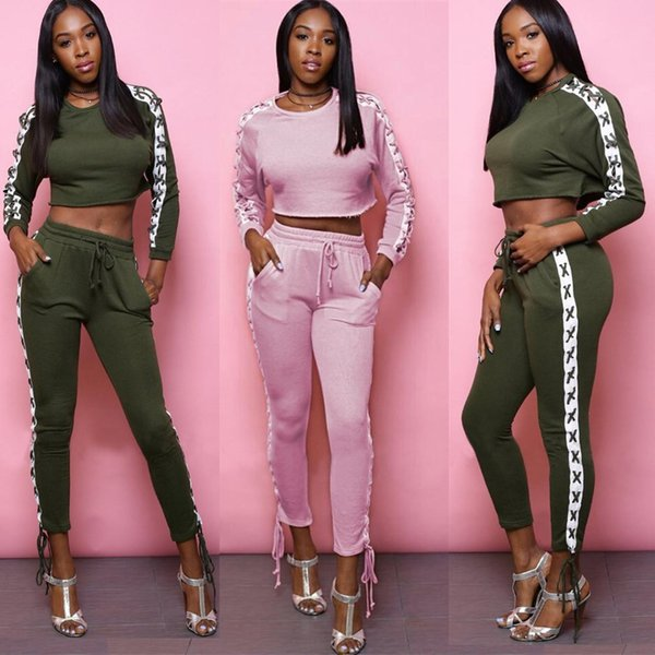 Women Clothes Two Piece Sets 2 piece woman set womens sweat suits joggers Plus Size Women Clothing models sexy dew navel corns bandage set