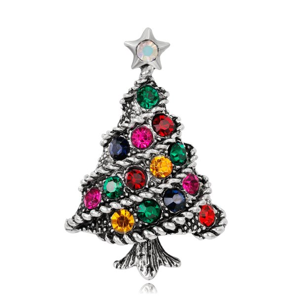 2019 Fashion Christmas Tree Brooch Pin for Party Cute Rhinestone Pins and Brooches for Women New Vintage Brooches Badge for Clothes