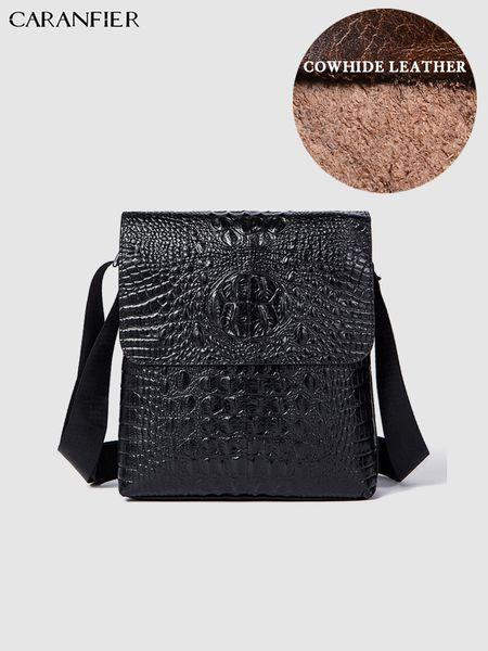 CARANFIER Mens Briefcase Genuine Cowhide Leather Buckled Travel Bags Business Messenger Shoulder Bags High Quality Male Handbag