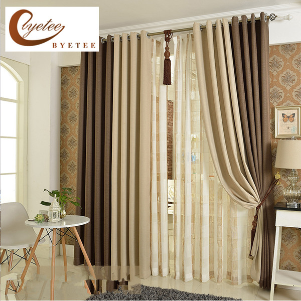 [byetee] Korean Solid Color Linen Curtain Shade Cloth Cotton Curtains Living Room Curtain Bedroom Finished Custom Curtains