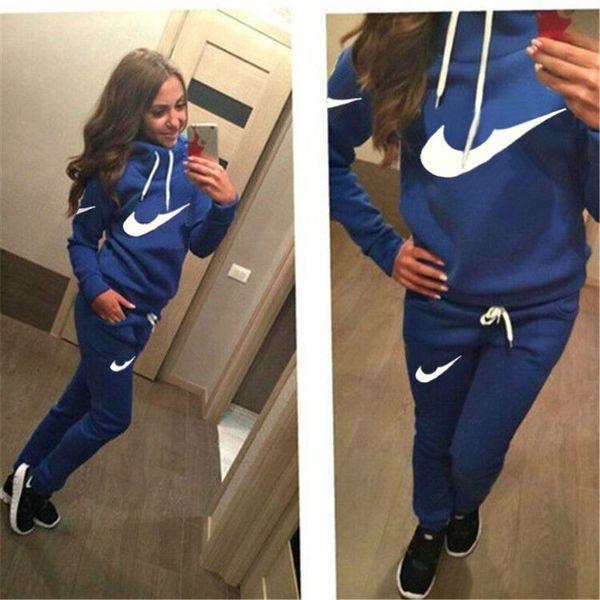 2018 Новый женский активный комплект спортивные костюмы Толстовки Толстовка + Брюки Бег Спортивный спортивный костюм 2 шт