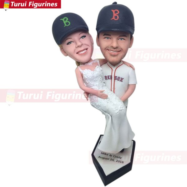 Red Sox Personalized Wedding Cake Toppers Red Sox Custom Bobble Head Baseball Theme Topper Red Sox Groom Holding Bride Baseball Cake Toppers Unique