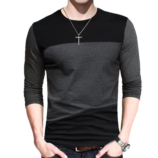 Primavera Outono T Shirt Dos Homens Do Vintage Patchwork O-pescoço de Manga Longa Tshirt Homens Roupas T-shirt Plus Size M-5XL Camiseta Homme