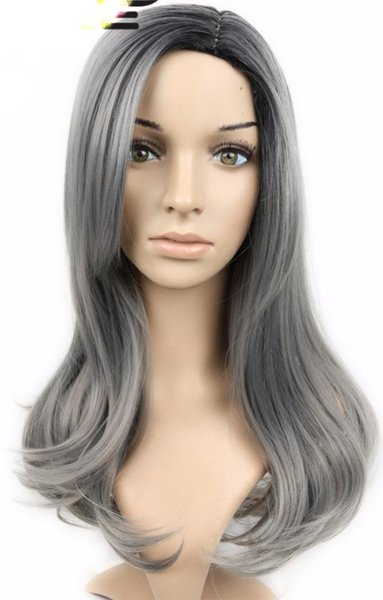Fashion top unprocessed virgin remy human hair long grey colorful long body wave full lace cap wig cheap for women