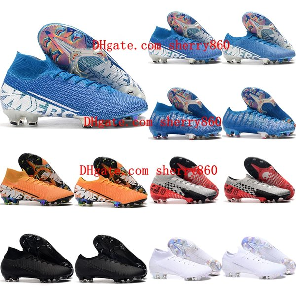 best selling 2019 cheap new Kids soccer shoes Superfly 7 Elite SE FG Boys soccer cleats Men WoMens Mercurial Vapors 13 Elite FG football boots 35-45