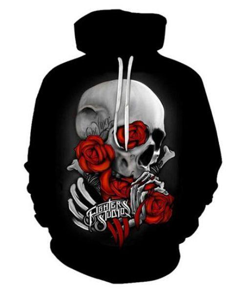 Unisex Skull Wear Red Rose Sweatshirt 3d Print Casual Crewneck Hoodie Men Women Clothing Harajuku Style Pullover Jackets Brand Quality Coat