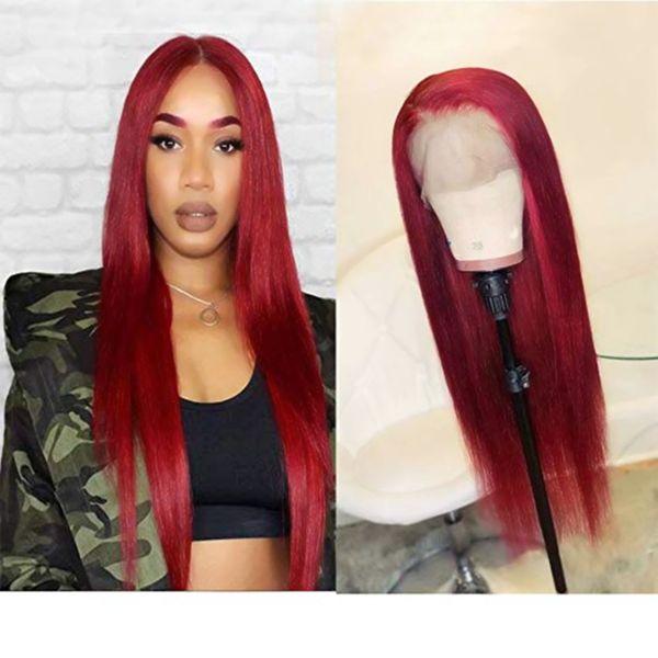 Сладкий бордовый бордовый красный цвет длинные шелковистые прямые кружева перед парики для женщин натуральный жаропрочных синтетических волос косплей парик с волосами младенца