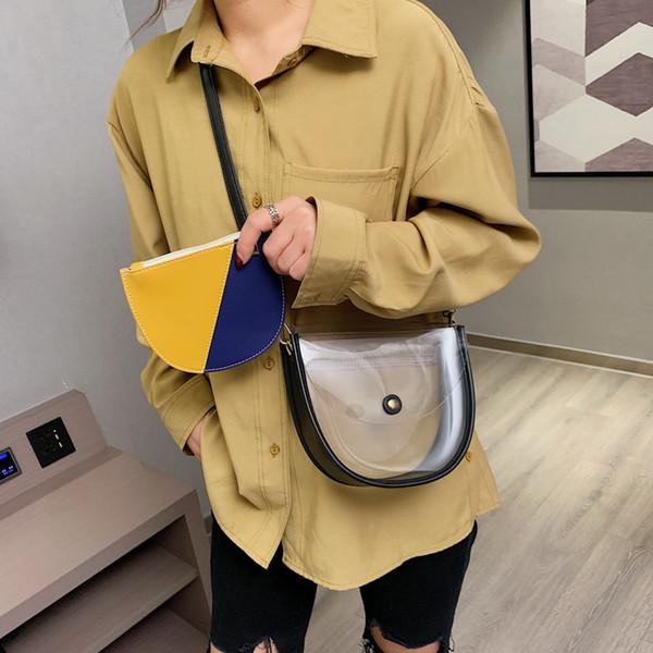 Fashion Panelled Transparent Jelly Saddle Bags Women's Shoulder Ladies Clear Pvc Messenger Bags Woman Handbags Transparent Bolsa