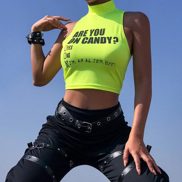 Womens Tank Top 2019 Sommer Neue Sexy Brief Print Weste Skinny Sleeveless Halter Nachtclub Stil Fluoreszierende Grüne Crop Top