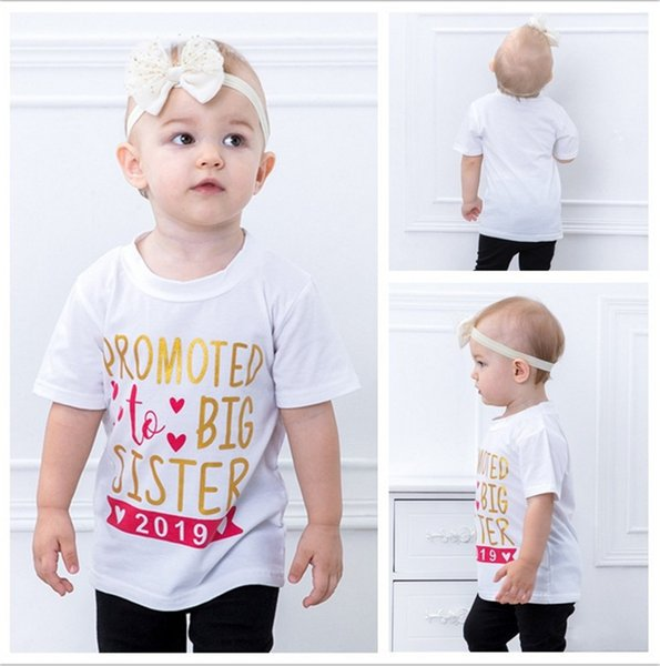 """1-3T Baby girl t-shirt """"Promoted to Big Sister 2019"""" INS hot sale kids girl short sleeve 100% cotton white t-shirt"""