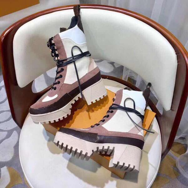 Prowow Novo Bege Couro Genuíno Marca Gladiador Rendas Até Mulheres Botas de Plataforma de Salto Grosso Outono Inverno Botas Sapatos Femininos